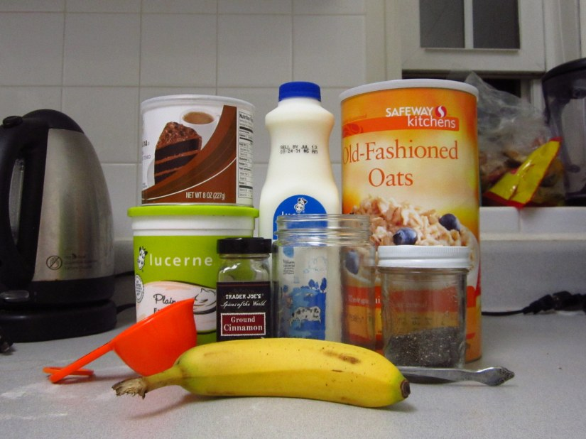 The basic ingredients for chocolate overnight oats.  Please excuse the clutter in the background.
