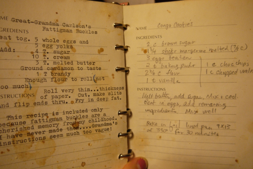 Well-used (or at least, it pretends to have been) family cookbook