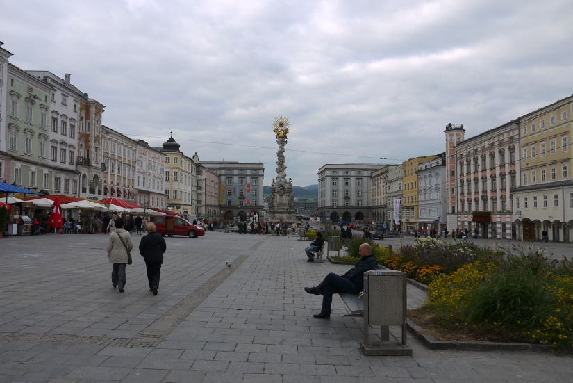 The Hauptplatz in Linz.  It's quite pretty in the sunlight, though it's unfortunately been rather gray lately.