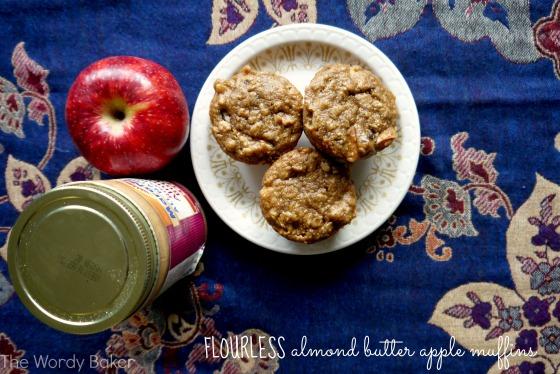 almond butter apple muffins